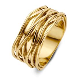 Excellent Jewelry Brede Geelgouden Ring met Golvende Stroken