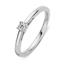 Excellent Jewelry Slanke Witgouden Ring met 0,10 crt. Briljant
