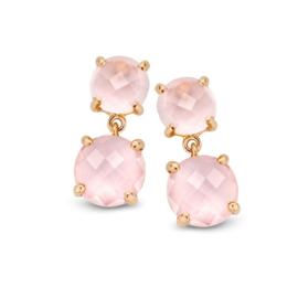 Excellent Jewelry Roségouden Oorstekers met Roze Kwarts
