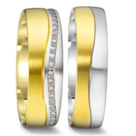 Matte 9 Karaat met Gepolijste Zilveren Trouwringen Set met 45 Diamanten