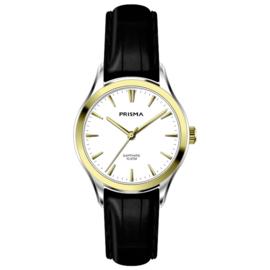 Prisma Zilver- met Goudkleurig Balm Dames Horloge met Zwarte Band