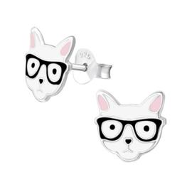 Zilveren Kinderoorbellen Kat met Bril