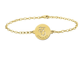 Gouden Armband met Ronde Steenbok Sterrenbeeld Naamhanger > Names4ever