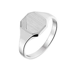 Jongens Zegelring van Zilver met Mat Oppervlak | Graveer Ring