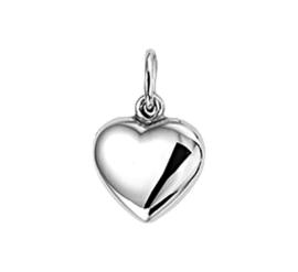 Bolstaande Hartvormige Hanger van Gepolijst Zilver