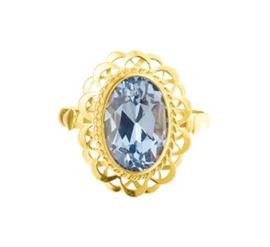 Stijlvolle Vintage Ring met Synthetische Aquamarijn