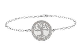 Zilveren Armband met Ronde Decoratieve Levensboom Naamhanger > Names4ever