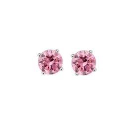 Roze Zirkonia Oorknoppen van Gepolijst Zilver