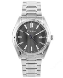 Zilverkleurig Heren Horloge met Zwarte Lijnen Wijzerplaat