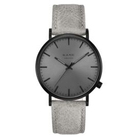 Zwart KANE Horloge met Grijze Lederen Horlogeband