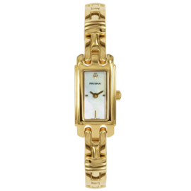 Prisma Goudkleurig Rechthoekig Dames Horloge met Parelmoer
