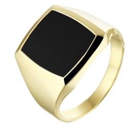 Moderne Zwarte Onyx Zegelring van Massief Geelgoud