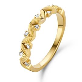 Excellent Jewelry Brede Gouden Ring met Witgouden Diamant Strook