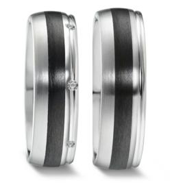 Bolstaande Zilveren Trouwringen Set met Carbon en Diamanten