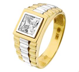 Luxueuze Geelgouden Ring met Zirkonia en Witgoud