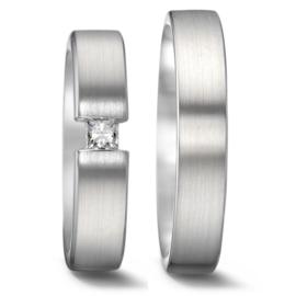 Robuuste Vlakke Trouwringen Set van Mat Zilver met Kleurloze Diamant