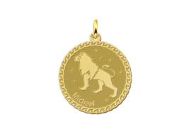 Ronde Leeuw Sterrenbeeld Hanger van Goud  | Names4ever