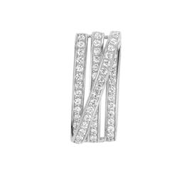 Vier Lijnen Hanger van Gerhodineerd Zilver met Zirkonia's