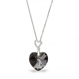 Tender Heart Zwarte Swarovski Ketting van Spark Jewelry