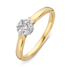 Excellent Jewelry Geelgouden Ring met Witgouden Diamanten Kopstuk