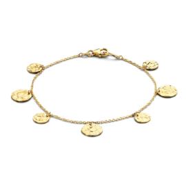 Excellent Jewelry Gehamerde Coins Armband van Goud