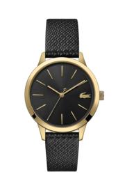 Lacoste Goudkleurig 12.12 Dames Horloge met Zwart Leder