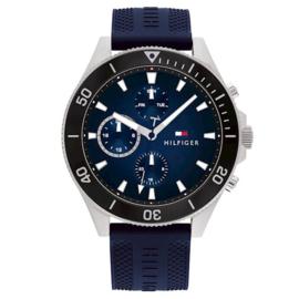 Tommy Hilfiger Zilverkleurig Heren Horloge met Blauwe Siliconen Band
