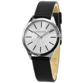 Prisma Basic Rond Dames Horloge met Zilverkleurige Wijzerplaat