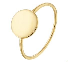 Gouden Dames Ring met Rond Plaatje voor Graveer Letter