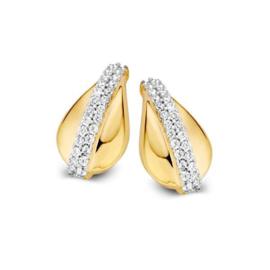 Excellent Jewelry Druppelvormige Oorstekers met Dubbele Zirkonia Rij