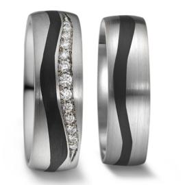 Robuuste Trouwringen Set van Zilver met Carbon en Diamanten