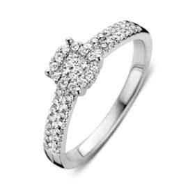 Excellent Jewelry Witgouden Ring met 0,45 crt. Diamanten