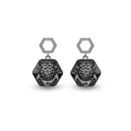 Favo Oorbellen met Zwart Swarovski Kristal van Spark