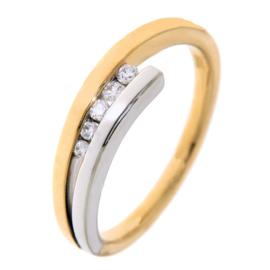 Excellent Jewelry Slanke Geelgouden Dames Ring met Briljanten