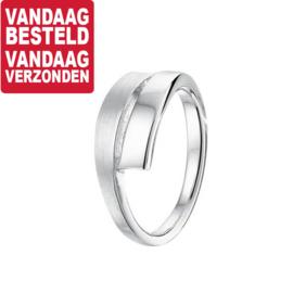 Ring van Mat met Gepolijst Gerhodineerd Zilver / 18,5mm