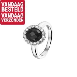 Bolle Ring van Zilver met Zwart Onyx Kopstuk - Maat 19