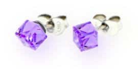 Paarse Swarovski Kubus Oorstekers van Spark Jewelry