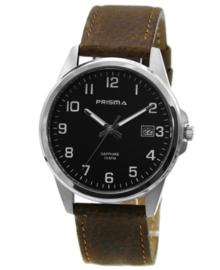 Stijlvol Heren Horloge van Zilverkleurig Titanium met Bruin Lederen Horlogeband