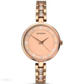 Sekonda Roségoudkleurig Dames Horloge met Kleurloze Zirkonia's