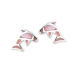 Roze Parelmoer Dolfijn Oorknoppen van Zilver