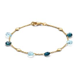 Excellent Jewelry Geelgouden Armband met Blauwe Topaas