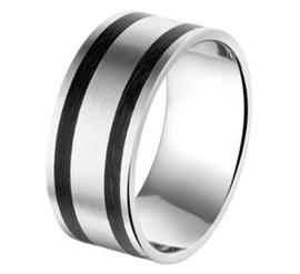 Edelstalen Heren Ring met Dubbele Carbon Strook - Graveer Ring