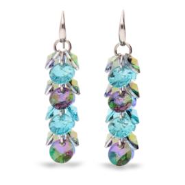 Frou Frou Aquablauwe met Paarse Swarovski Oorbellen van Spark Jewelry