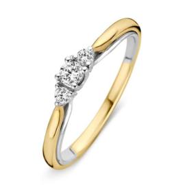 Excellent Jewelry Bolstaande Ring van Geelgoud met 0,19 crt. Briljant