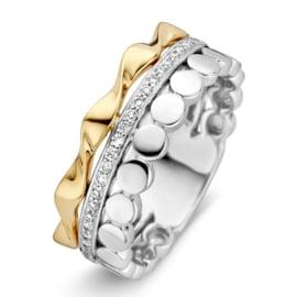 Excellent Jewelry Geelgouden en Witgouden Fantasie Ring met Briljanten