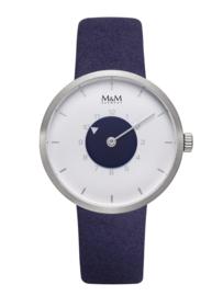 Zilverkleurig M&M Dames Horloge met Paarse Horlogeband