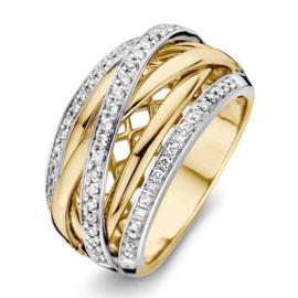 Excellent Jewelry Brede Bicolor Ring met Kleurloze Diamanten