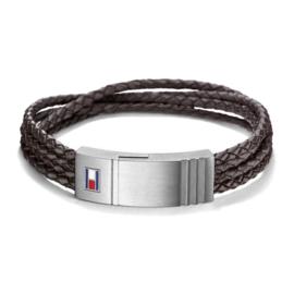 Tommy Hilfiger Leren Armband RVS details TJ2701008