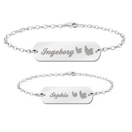 Zilveren Moeder Dochter Graveer Armbandjes Set met Vlinders - Names4ever