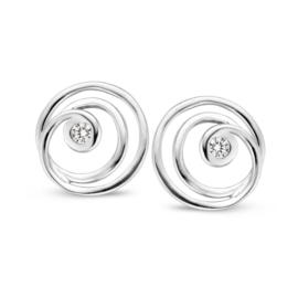 Excellent Jewelry Witgouden Spiral Oorstekers met Zirkonia
